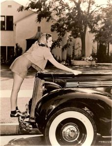 Judy polishes her car!