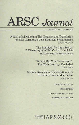 ARSC Journal Cover - Spring 2012