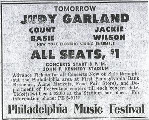 Print ad for Judy Garland at the Philadelphia Music Hall 1968