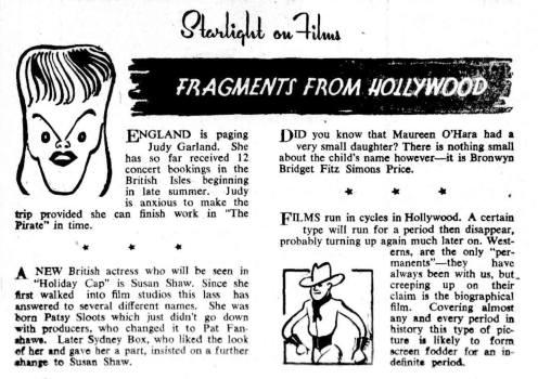Judy Garland April 7, 1948 Gossip Item