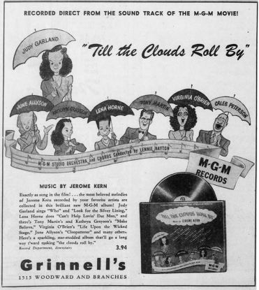 """""""Till The Clouds Roll By"""" MGM Records ad"""