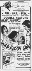 "April 14, 1938 Judy Garland, Allan Jones, and Fanny Brice in ""Everybody Sing"""