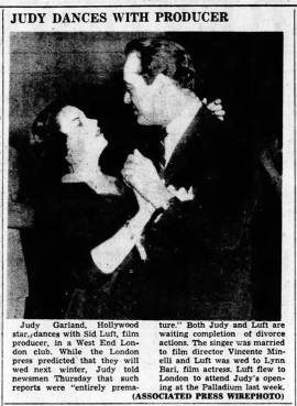 Judy Garland and Sid Luft dancing in West End London in April 1951