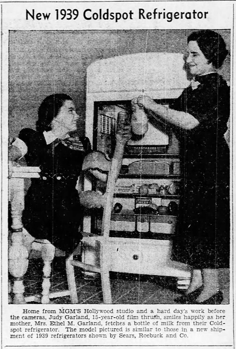 Judy Garland and her mom, Ethel M. Garland, showing off the new 1939 Coldspot Refrigerator