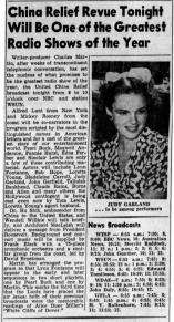 "Judy Garland on the ""Radio China Relief"" radio show"