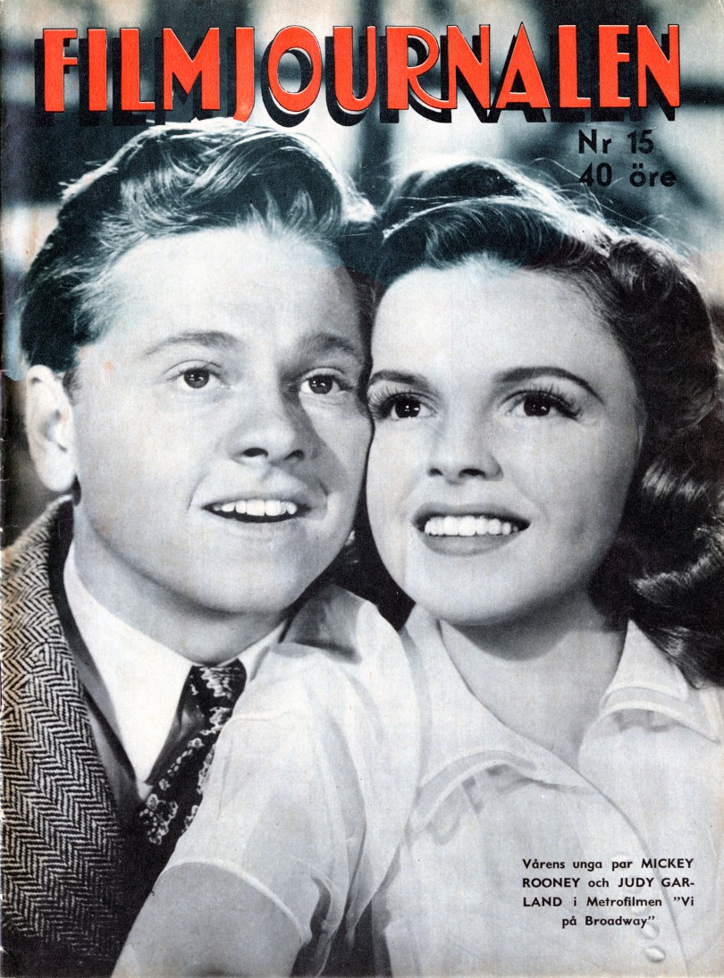 Judy Garland and Mickey Rooney on the April 11, 1943 Filmjournalen - Sweden