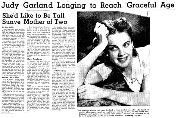 Judy Garland article printed April 11, 1943