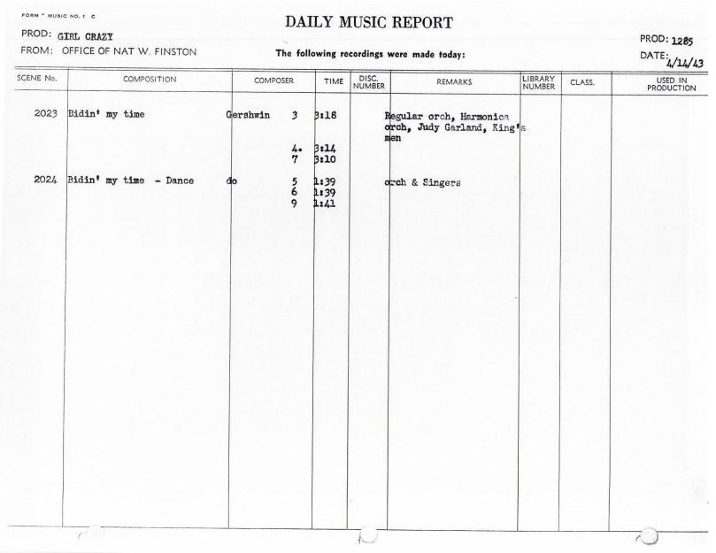 April 14, 1943 Bidin My Time