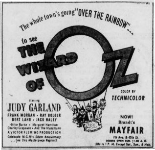 """April 17, 1949, ad for the first re-release of """"The Wizard of Oz"""""""