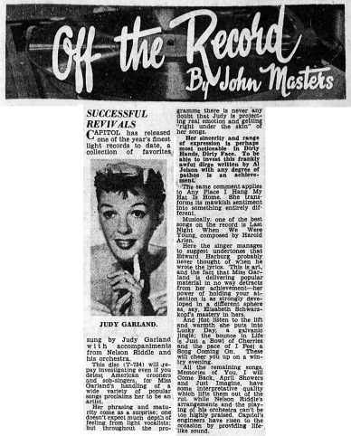 """Off The Record by Jon Masters review of """"Judy"""" by Judy Garland"""