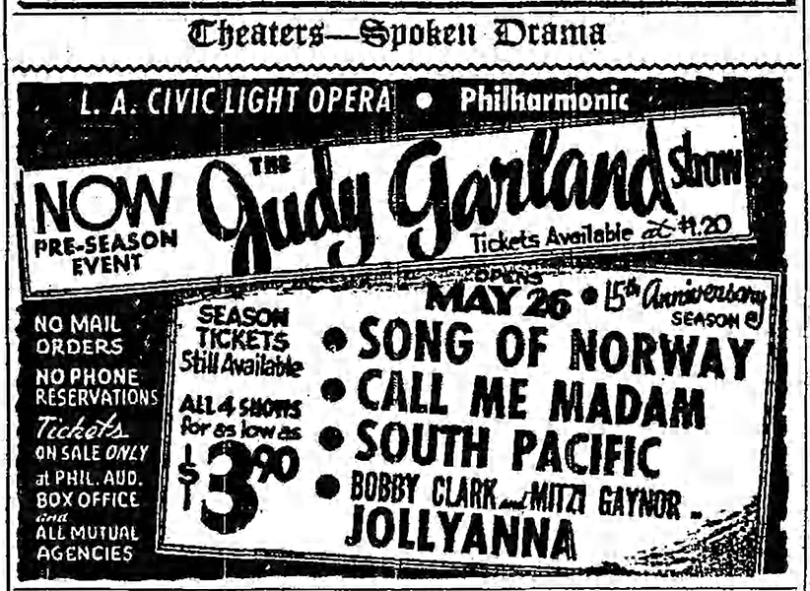 Judy Garland at the Los Angeles Philharmonic - ad published April 30, 1952 in the Los Angeles Times