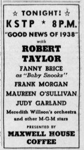"Judy Garland on the NBC Radio show ""Good News of 1938 """
