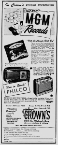 """MGM Records ad for """"Till The Clouds Roll By"""" in the Chicago Tribune"""