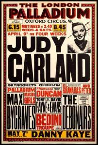 Poster for Judy Garland at the London Palladium April 9, 1951