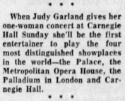 Judy Garland at Carnegie Hall