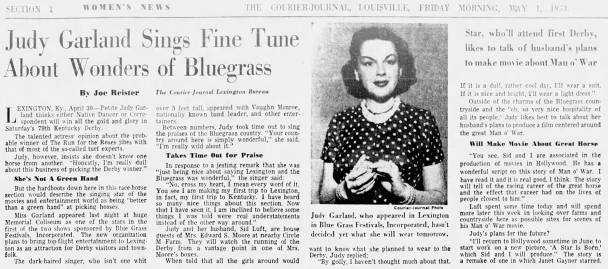 Judy Garland at the Bluegrass Derby Week in Louisville, Kentucky May 1, 1953