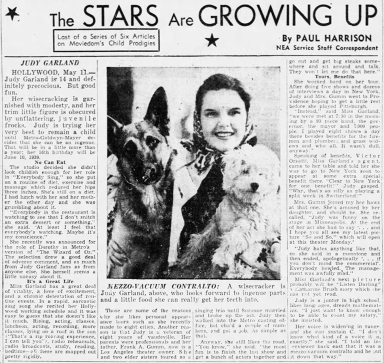 Judy Garland diets at MGM - April 28, 1938
