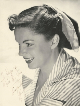Publicity photo autographed by Judy Garland to Wayne Martin
