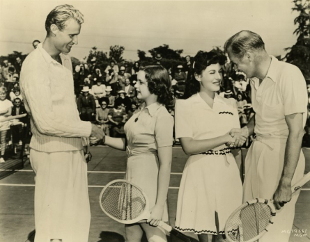 Lester Stoeffen, Judy Garland, Paulette Goddard and Bill Tilden play tennis at the Ambassador Hotel in Los Angeles April 21, 1940