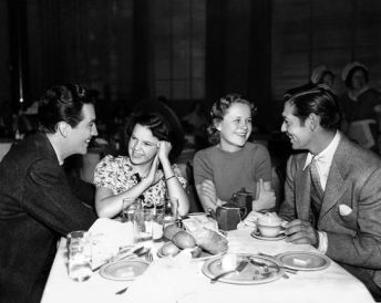 Robert Taylor, Judy Garland, Betty Jaynes, Clark Gable in mid-1937