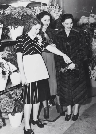 "Judy Garland and her two sisters in her flower shop, ""Judy Garland Flowers"" early 1939"