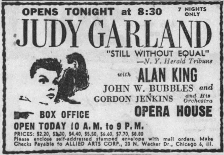 Judy Garland at the Chicago Opera House June 1, 1959