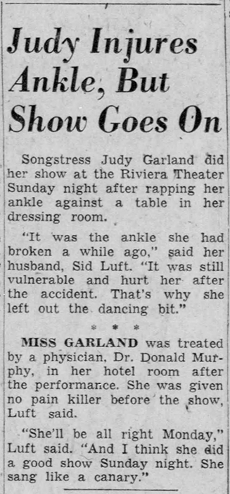Judy Garland hurts her ankle.
