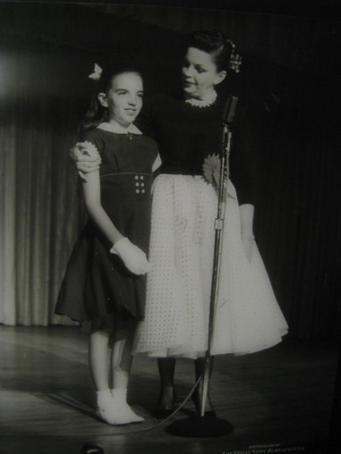 Liza Minnelli on stage with her mother, Judy Garland, at the Flamingo in Las Vegas, May 1957.