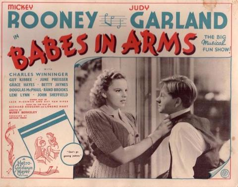"UK lobby card for ""Babes In Arms"" starring Judy Garland and Mickey Rooney"