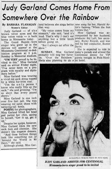 Judy Garland Comes Home From Somewhere Over the Rainbow - May 10, 1958 Minneapolis, MN