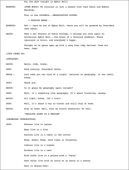 Page from the transcript of the may 11, 1937 Jack Oakie's College radio show starring Jack Oakie and Judy Garland