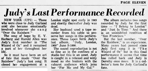"Review of ""Judy. London. 1969."" May 10, 1970"