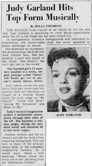 Judy Garland Hits Top Form Musically -