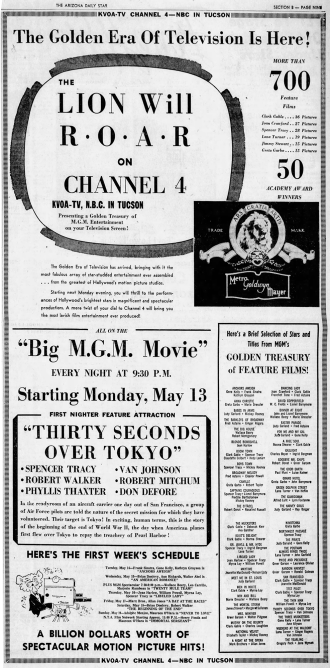 MGM MOVIES on Channel 4 in Tucson, Arizon May 12, 1957