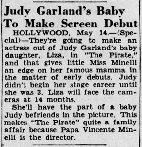 Judy Garland's Baby, Liza Minnelli, to make screen debut