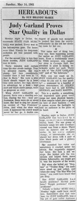 Review of Judy Garland's May 8, 1961 show in Dallas, Texas