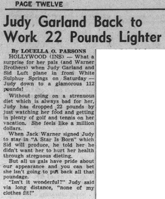 Judy Garland is down to 112 pounds