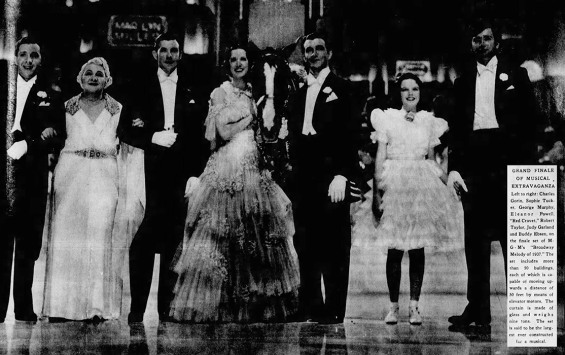 The Broadway Melody of 1938 (1937) starring Robert Taylor, Eleanor Powell, George Murphy, Judy Garland, Sophie Tucker, Buddy Ebsen, and Charles Gorin