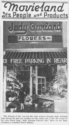 "Judy Garland at her flower shop, ""Judy Garland Flowers"" early 1939"