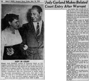 Judy Garland and Sid Luft in Los Angeles court may 15, 1952