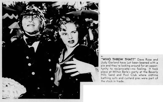 Judy Garland and David Rose at Milton Berle's Mack Sennett party