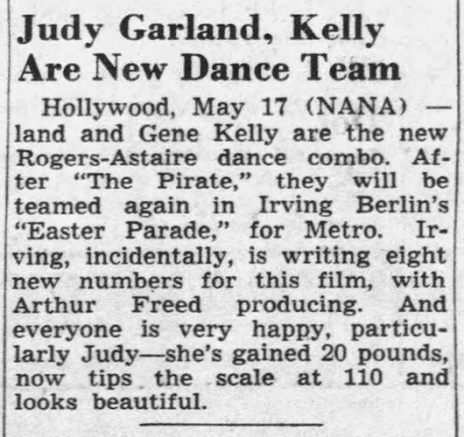 """Judy Garland and Gene Kelly in """"The Pirate"""" and """"Easter Parade"""""""