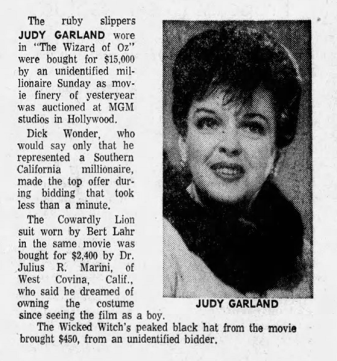The Ruby Slippers auctioned for $15,000 on May 17, 1970 - Judy Garland