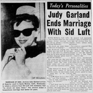 Judy Garland divorces Sid Luft May 19, 1965