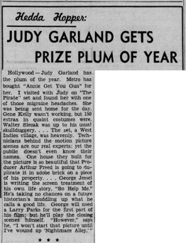 "Judy Garland gets plum role in ""Annie Get Your Gun"" May 21, 1947"