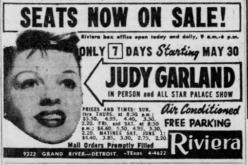 Judy Garland at the Riviera in Detroit, Michigan May 30, 1957