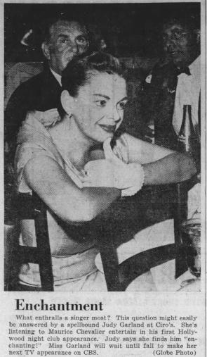 Judy Garland watches Maurice Chevalier at Ciro's, May 1956