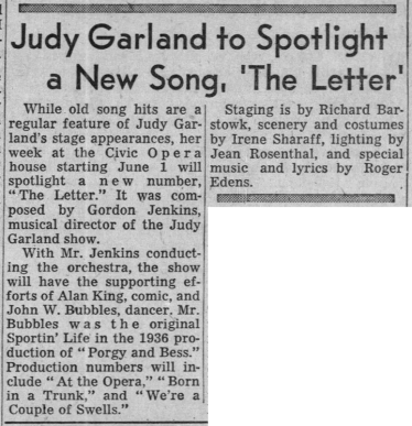 Judy Garland at Chicago's Civic Opera House