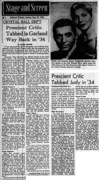 Judy Garland at The Curran - May 25, 1952 article