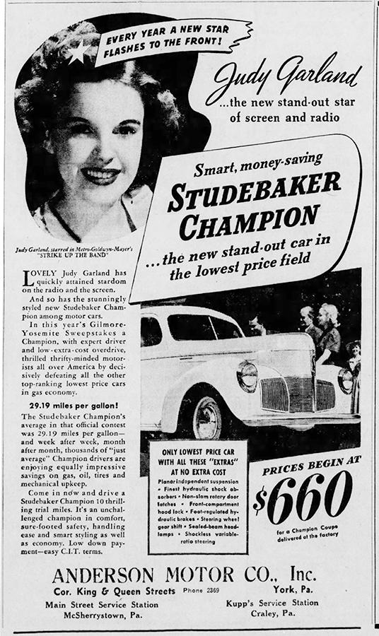 Judy Garland sells the Studebaker Champion